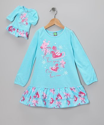 Turquoise Reindeer Nightgown & Doll Outfit - Girls