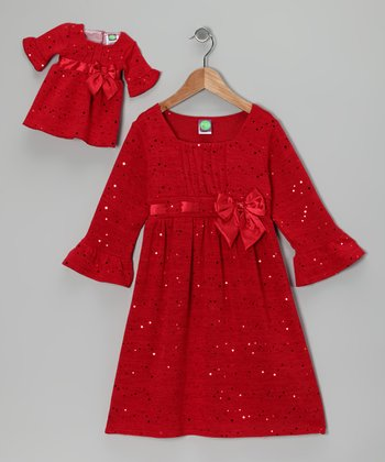Red Sparkly Dress & Doll Outfit - Girls