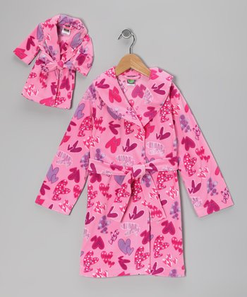 Pink Heart Fleece Robe & Doll Outfit - Girls