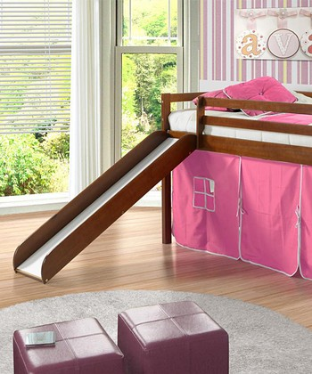 Pink & Brown Tent Loft Bed & Slide