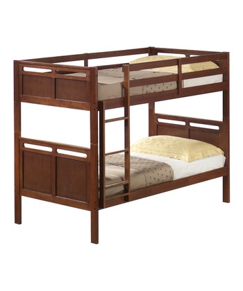 Walnut Slotted Twin Bunk Bed