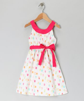 White & Pink Ice Cream Yoke Dress - Girls