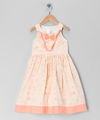 Peach Floral Bow Dress - Girls