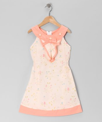 Peach Floral Yoke Dress - Girls