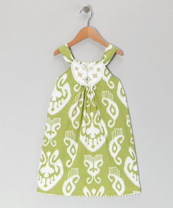 Green Brocade Embroidered Dress - Girls