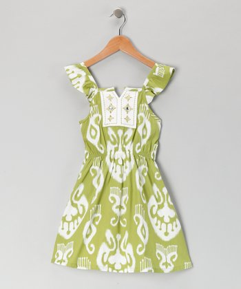Green Brocade Dress - Girls