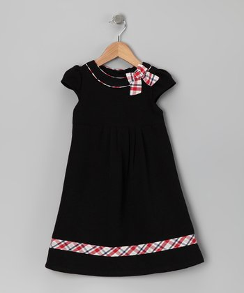 Donita Black & Red Plaid Bow Dress - Infant, Toddler & Girls
