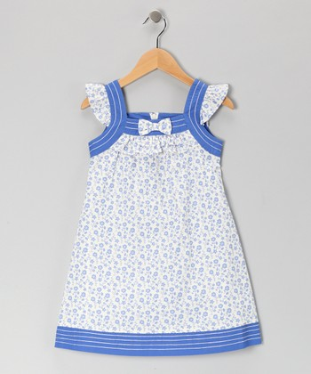 White & Blue Floral Bow Shift Dress - Girls