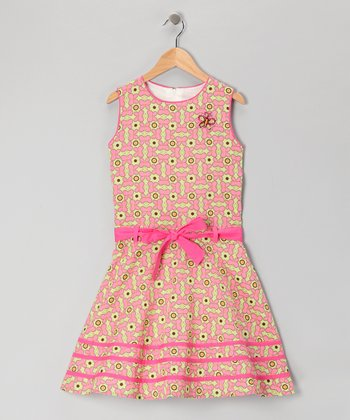 Coral & Green Butterfly Dress - Girls