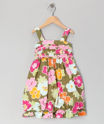 Green Floral Bubble Dress - Girls