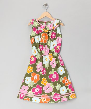Green Floral Yoke Dress - Girls