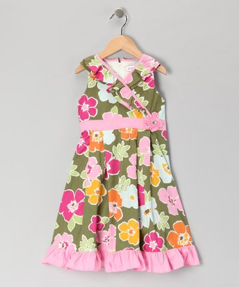 Green Floral Surplice Dress - Girls