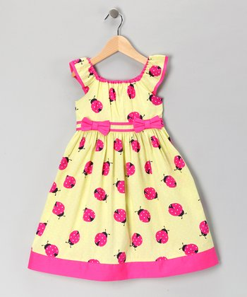 Yellow Ladybug Angel-Sleeve Dress - Girls