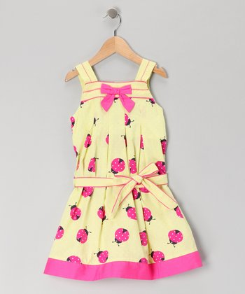 Yellow Ladybug Dress - Girls