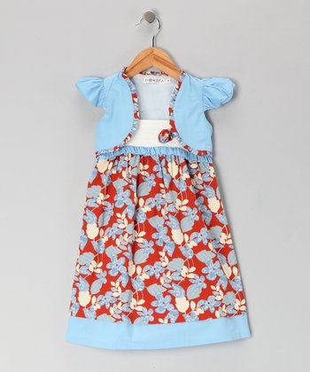 Blue & Red Floral Paisley Dress & Shrug - Girls