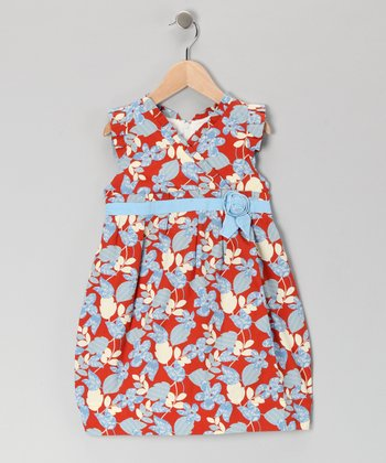 Blue & Red Surplice Bow Dress - Girls