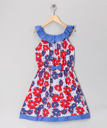 Blue & Red Poppy Dress - Girls