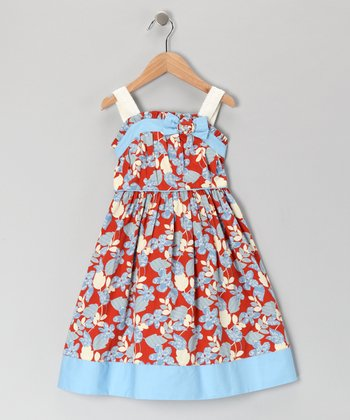 Blue & Red Floral Bow Dress - Girls