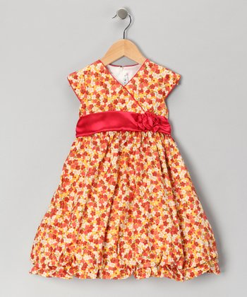 Red Floral Surplice Dress - Girls