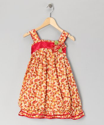 Red Floral Ruffle Dress - Girls
