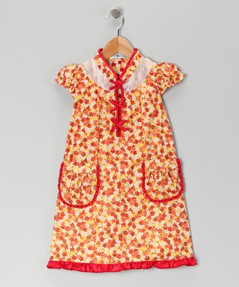 Red Floral Military Dress - Girls