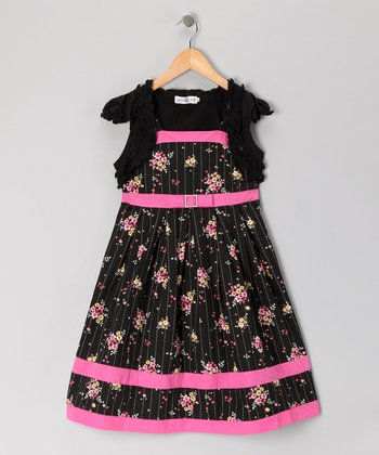 Black Pinstripe Floral Dress & Shrug - Girls