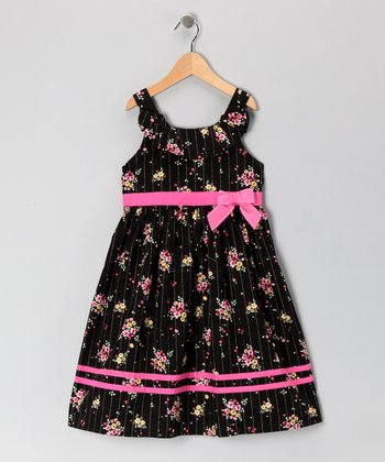 Black Pinstripe Floral Bow Dress - Girls