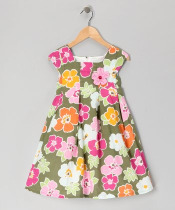 Green Floral Swing Dress - Girls