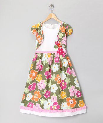 Green Floral Ruffle Dress - Girls