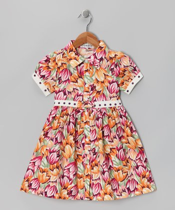 Pink Floral Shirt Dress - Girls
