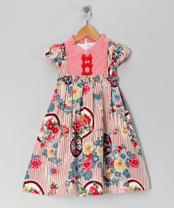 Red Stripe Floral Dress - Girls