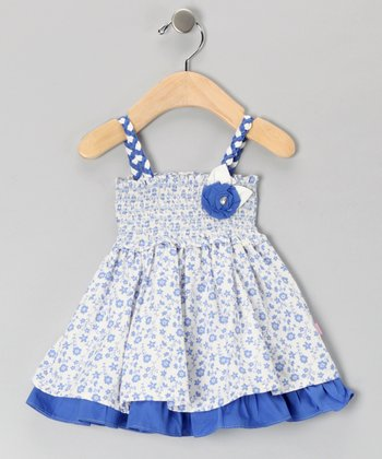 White & Blue Floral Smocked Dress - Infant & Toddler