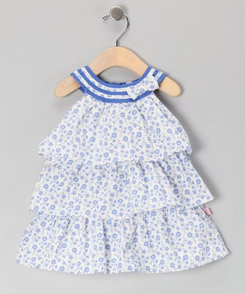 White & Blue Floral Yoke Dress - Infant & Toddler