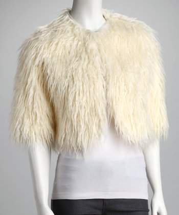 Ivory Mongolian Foxy Crop Coat - Women