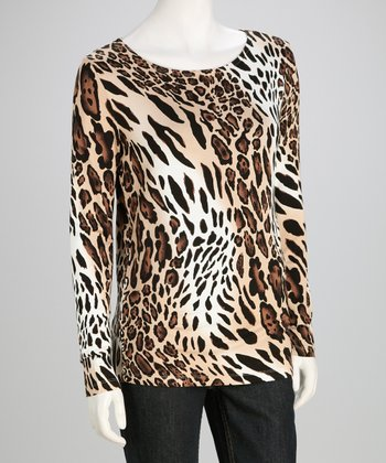 Beige & Black Leopard Long-Sleeve Tee - Women