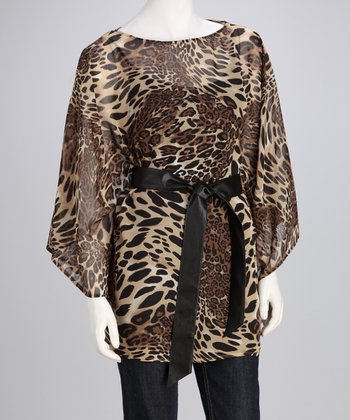 Beige & Black Leopard Cape-Sleeve Tunic - Women