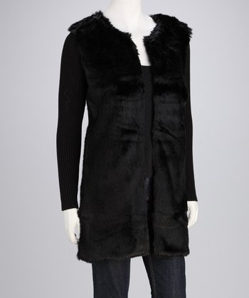 Black Faux Fur Front Open Cardigan - Women