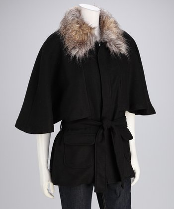 Black Wool-Blend Cape-Sleeve Coat - Women