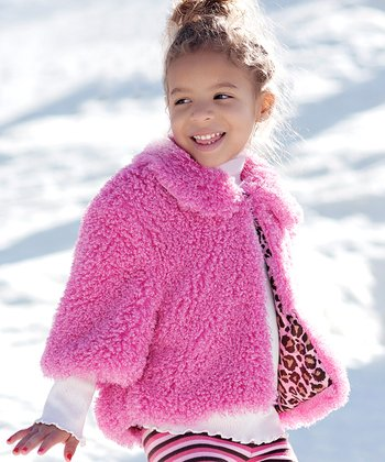 Pink Poodle Faux Fur Bubble Jacket - Toddler & Girls