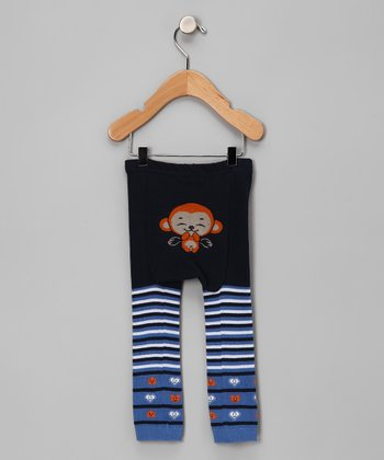 Blue Stripe Laughing Monkey Pants