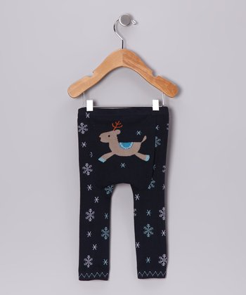 Navy Reindeer Leggings - Infant