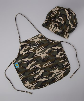 Green Camouflage Personalized Chef Hat & Apron