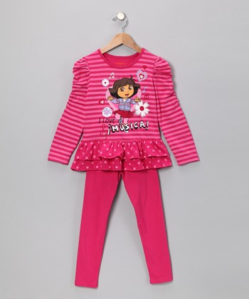 Dark Pink 'I Love Musica' Tunic & Leggings - Girls