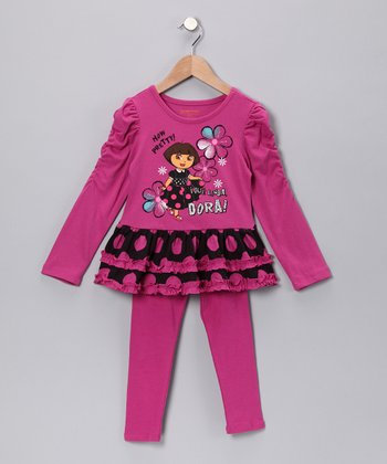 Purple 'How Pretty' Tunic & Leggings - Girls
