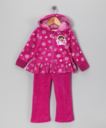 Pink Dora Velour Zip-Up Hoodie & Pants - Infant & Girls