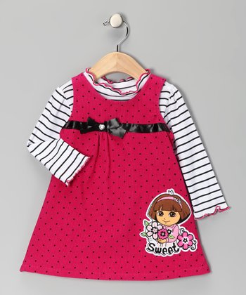 Dark Pink Polka Dot Dora Tee & Corduroy Jumper - Infant & Toddler
