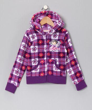 Purple Plaid 'Dora' Fleece Zip-Up Hoodie - Girls
