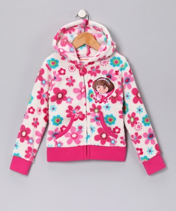 Dark Pink Floral Dora Fleece Zip-Up Hoodie - Girls