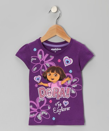 Purple 'Dora!' Floral Tee - Toddler