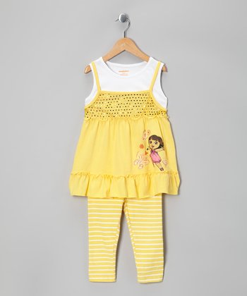 Yellow Dora Sparkle Layered Tunic & Leggings - Girls